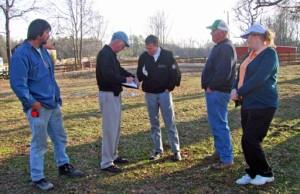 Travis Carter, Rick Robbins, Brad Clayton, Talmadge Burgess, and Janet Burleson planning a par-3 hole.